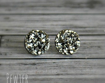 Druzy Stud Earrings. Pewter