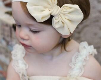 Ivory  Chiffon hair bow Headband Shabby Chic vintage hairbow baby headband