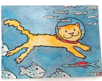 Underwater Painting -  Aceo Original - Swimming Cat Watercolor -Inktober Original- Artist Trading Cards - Cat Art - Miniature Art- ATC Cards