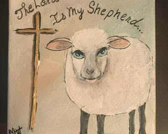 SOLD-Lamb Cross 6x6 acrylic painting gallery wrapped canvas Lord is My Shephard. See item details for painting another.