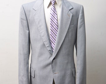 Men's Suit / Vintage Grey Blazer and Trousers by Kuppenheimer / Size 44 Large