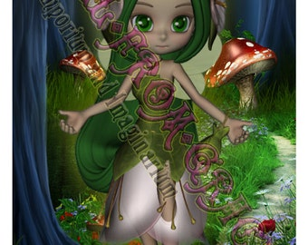 Printable - Download now - Sweet Fairy Girls card  - Original  Card Artwork