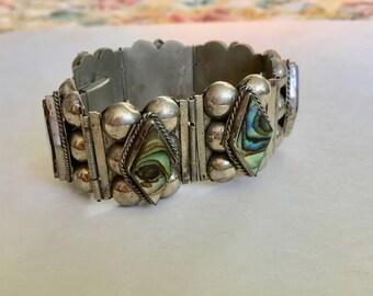 vintage Mexican alpaca silver abalone bracelet