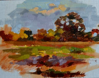 "5"" x 7"" original oil painting landscape autumn sunrise"
