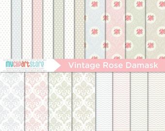 Digital Paper - Vintage Rose Damask, Scrapbook Paper, Digital Pattern, Commercial Use, JPEG, PDF