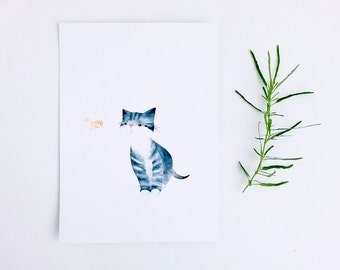 Postcard, watercolour illustration, cat print, A5 print, digital print, cat art print, The Messenger