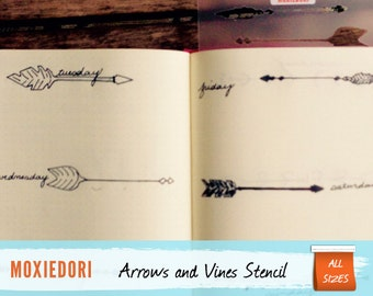 """Arrows and Vines Bullet Point Journal Stencil, fits Leuchtturm and Moleskine 5"""" by 7"""""""