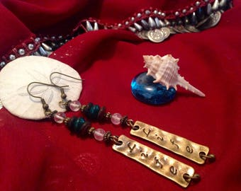 """Rose Quarts and Azurite/Chrysocholla with """"Life"""" Charm Earrings"""