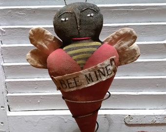 "Primitive Valentine ""Bee Mine"" Bee on Rusty Spring Ornie/Shelf Sitter"