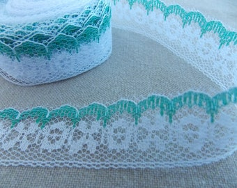 Beautiful fine lace Ribbon with white and green circles 1 m and cross