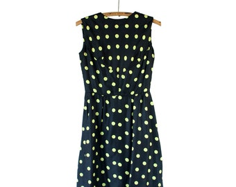 1950s Vintage Silky Polka Dot Party Dress with Pockets | Medium