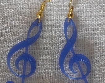 Treble clef earrings blue