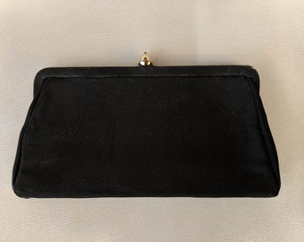 1980s // LITTLE BLACK PURSE  // Vintage Small Black Clutch