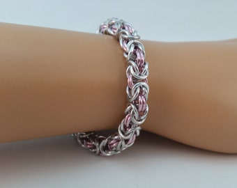 Byzantine Dusky Pink and Bright Aluminum Necklace/Bracelet/Earrings Set, Chainmail necklace, Chain mail bracelet, chain maille earrings