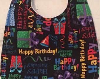 Cheerful and Bright Happy Birthday Bib!  FREE SHIPPING!!
