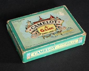 1930 Vintage Paper Cardboard Box Camelot A Game By Parker Brothers Board Game Box Castle Knight Knights Medieval Times King Arthur