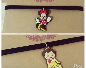 Disney characters chokers, Minnie, Belle, Beauty and the beast