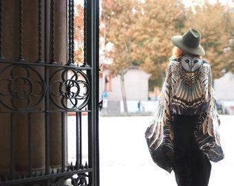 Black Silk Scarf, Owl Shawl, Wing Shawl, Girlfriend Gift for Her, Women Sarong, Bird Scarf, Wings Scarf Wrap, Wearable Art, Owl Shawl Wrap