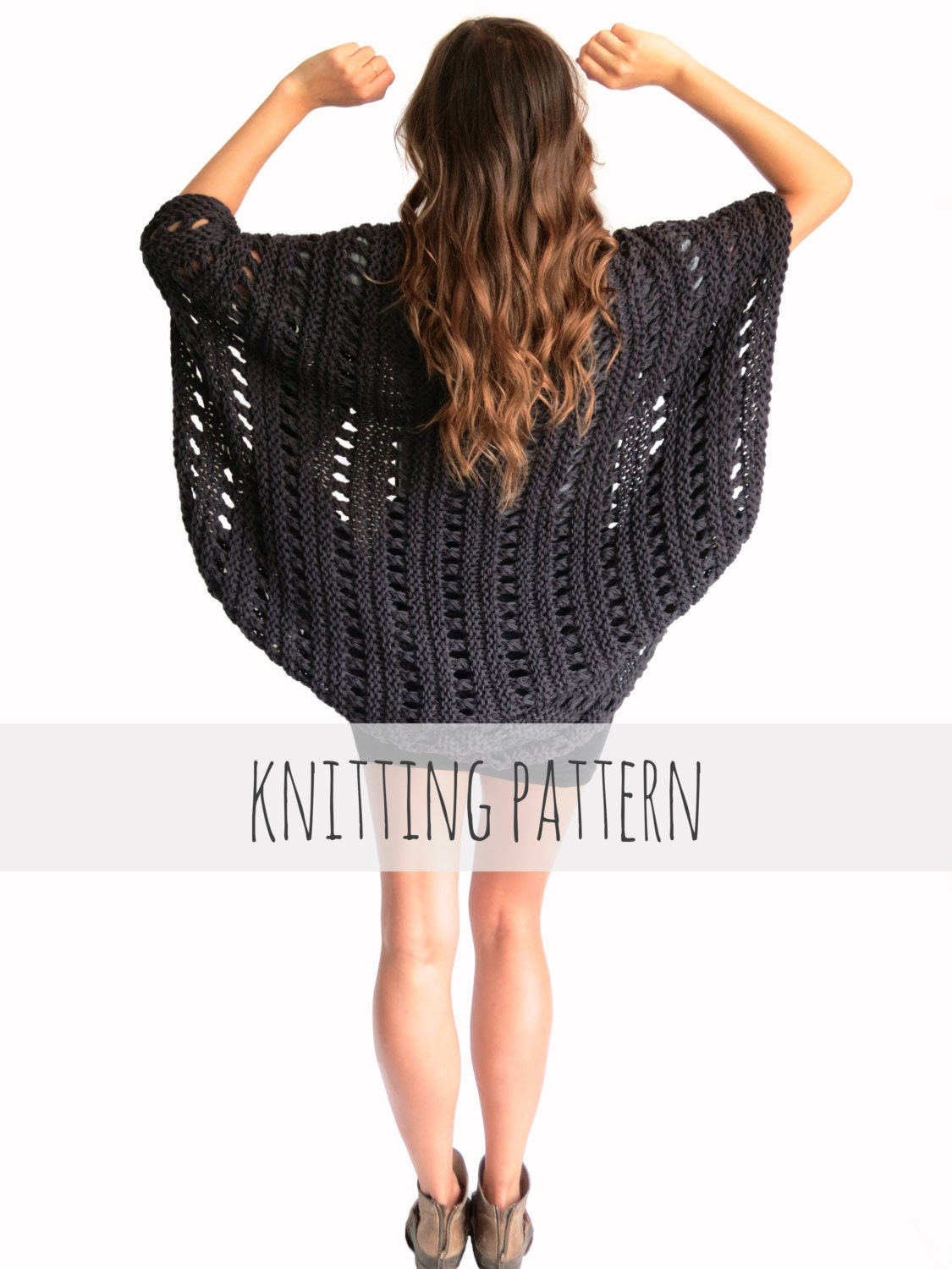 PATTERN for Loose Knit Poncho Beach Cover Up Cape Cardigan Shrug ...