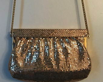 Vintage Whiting and Davis- Vintage Whiting & Davis 1920s Style Gold Coin Mesh Evening Bag