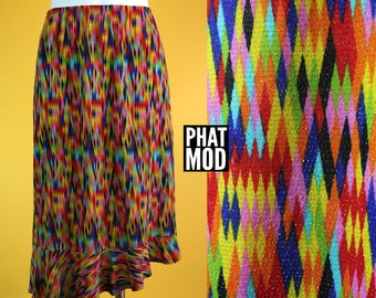 Sassy Vintage 90s Rainbow Metallic Diamond Pattern Asymmetrical Skirt