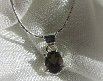 Classic, Oval, Smoky Quartz Gemstone, Silver Pendant Necklace