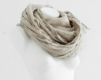 Pure Linen Scarf Extra Long / Natural Linen Shawl / Linen Scarves / Fashion Accessories / Flax Beach Scarf / Gifts Idea / Unisex / For Him
