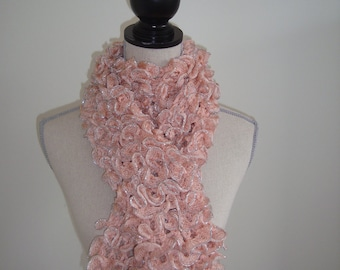 pink and silver ruffled scarf