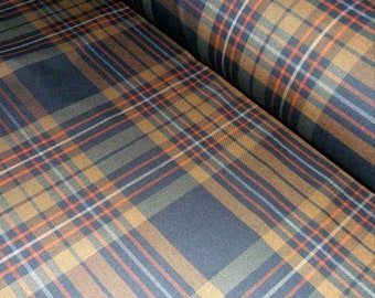 Gray and Brown Plaid Fabric Warm Tartan fabric by the meter