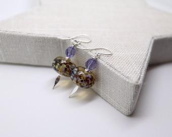 Silver Earrings * Gift for Her * Lampwork Beads * Swarovski Elements * Jewellery Gift * Birthday Gift * Unusual Jewelry * Drop Earrings