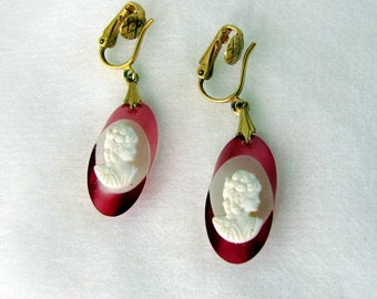 Vintage 1960s Earrings | Cameo | Drop Earrings | Rose Colored Edging | Acrylic | Clip-ons | Lady Bust