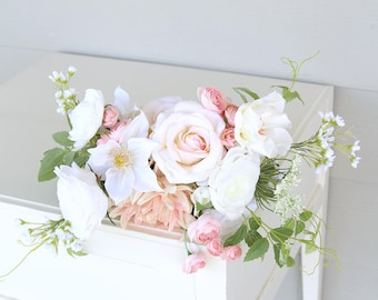 Soft Blush Pink, Light Peach-Pink, White and Cream Silk Flower Wedding Bouquet | Garden Inspired Bridal Bouquet | SG-1019