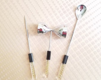Gold Link Lucite Bar Tools Set Mid Century Vintage Chrome Barware Hollywood Regency Made in Japan Double Jigger Tall Stirrer Spoon Ice Pick