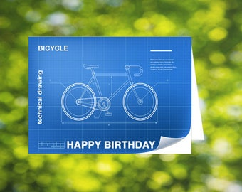 Bicycle technical drawing birthday card, card for him, cyclist card