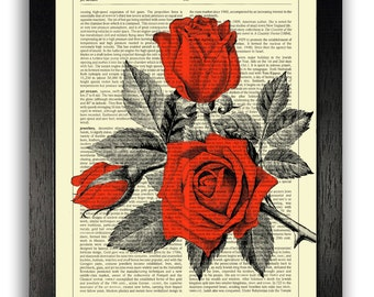RED ROSES Art Print, Dictionary Art Print Wall Decor, Floral Art, Flowers Poster Artwork, Gift for Girlfriend, Girls Bedroom Art, Roses Art