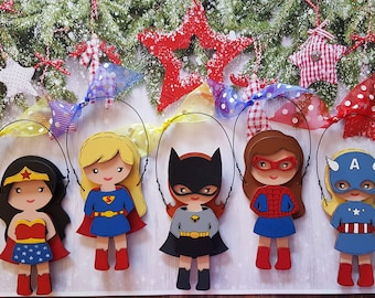 Super Hero Girl Personalized Christmas Ornament, Wonder Woman, Super Girl, Bat Girl, Spider Girl, Captain America Girl