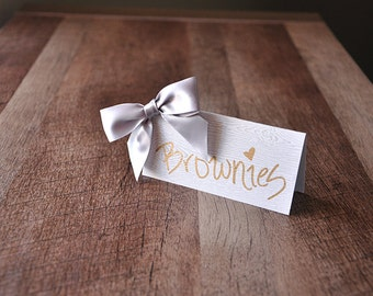 40th Birthday Decoration Place Cards.  Handcrafted in 2-5 Business Days. Wood Grain Food Tents with Bows 10CT.