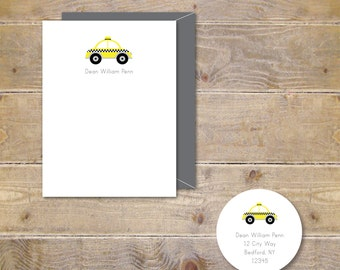 Baby Thank You Cards, Taxi Cards, Taxi Stationery, Cabs, Yellow, Baby Shower Thank You Cards, Taxi Cards, Baby Thank You Notes, Baby Shower