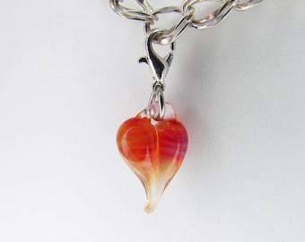 Purple Pink Glass Love Charm Pendant, Hand Blown Glass , Glass Heart Clip, Boro dangle, Boro Lampwork jewelry, Heart Charm Clasp