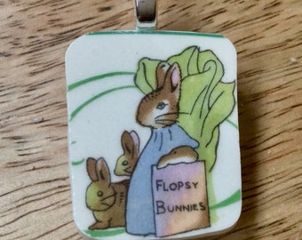 BROKEN CHINA Beatrix Potter Jewelry Pendant Flopsy Bunnies, Recycled, Vintage, Adult/Child, Silver,