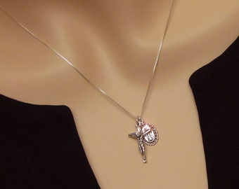 Sterling Silver Crucifix and Miraculous Mary Stacked Set Layered Dainty 925 Solid Sterling Traditional Catholic Simple