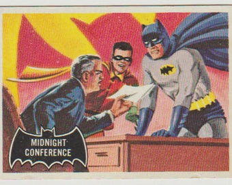 1966 Topps Batman Trading Card (Black Bat) #4, Midnight Conference. EX-MT 6. Topps Company Inc., DC Comics