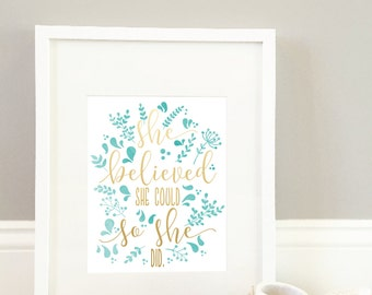 She Believed She Could So She Did Print // Calligraphy Print // Watercolor Art // Inspirational Print // Positive Quotes Art // Wall Art