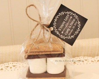 S'mores Favor Kits, 24 SMORE LOVE S'mores Wedding Favor Kits, Choose Any  TAG Design, Rustic Weddings, Personalized Tags, Bridesmaid Gift