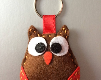Brown and Red OWL keychain