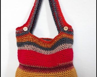 Bag in wool realized crochet Yellow/Rose/Burgundy