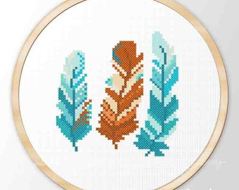 Feathers modern easy cross stitch pattern hoop art  bokho ornament turquoise red-brown cute gift Instant Download Printable JPEG