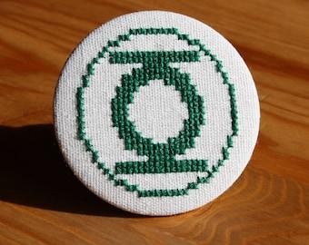 Green Lantern Cross Stitch Pin Badge