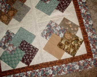 Quilt Top Table Topper to Finish Card Tricks Brown Blue Turquoise 34 1/2 x 34 1/2 inches