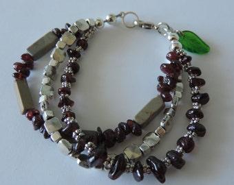 Garnet Bracelet,  Spring Leaf Bracelet,  Garnet Multi Strand Bracelet,